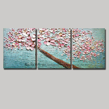 3 piece abstract  blossom tree acrylic wall picture decorative knife flower painting modern on canvas wall art in living room