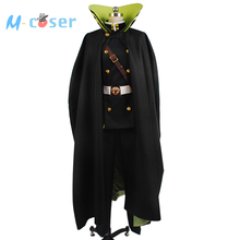 Seraph of the End Yuichiro Hyakuya Uniform Outfit Black Cloak Coat Shirt Pants Anime Halloween Cosplay Costume For Men Custom