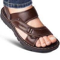 Мужские сандалии из натуральной кожи; модная повседневная обувь без застежки с открытым носком; мужские шлепанцы; летние пляжные сандалии в...
