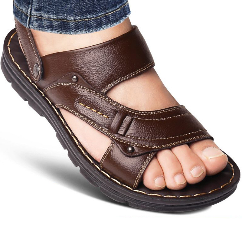 Genuine Leather Men's Sandals Open Toe Slip On Fashion Casual Shoes Men Men Slippers Roman Summer Beach Sandals Plus Size 38-44