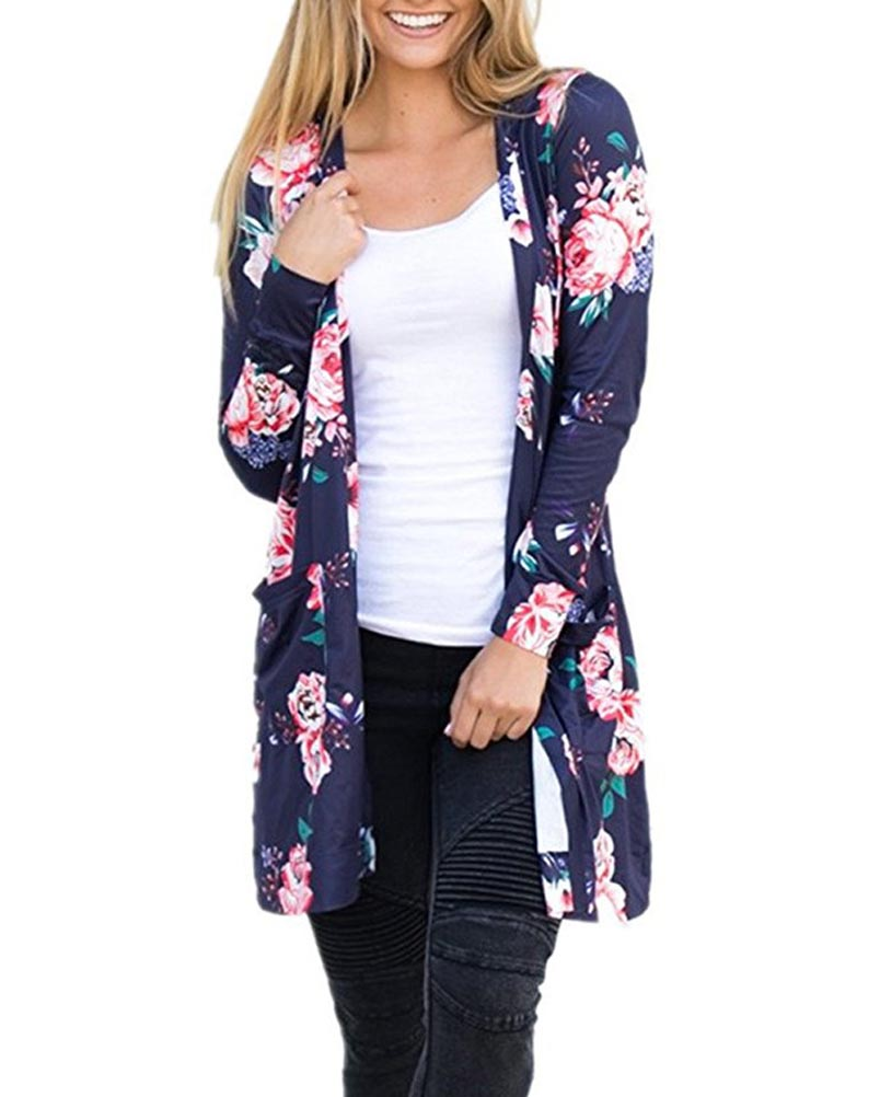 Hitmebox 2018 New Fashion Autumn Women's Boho Floral Printed Open Front Long Sleeve Pockets Cardigans Coverup Tops Jacket Coats