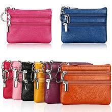 Moda deri kadın cüzdan debriyaj tek/İki Zip kadın kısa küçük bozuk para cüzdanı marka yeni tasarım yumuşak Mini kart nakit tutucu