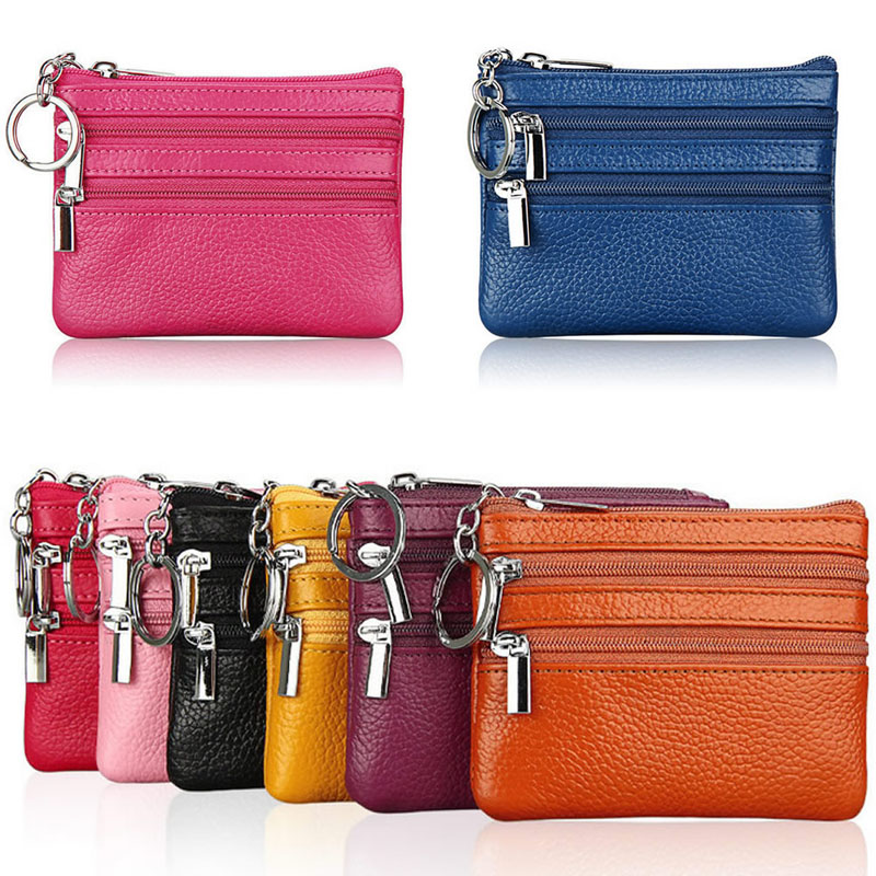 One/Two Zip Women Vintage Faux Leather Lady Wallet Clutch Fashion Short Small Coin Purse Brand New Design Soft Solid Square Bag