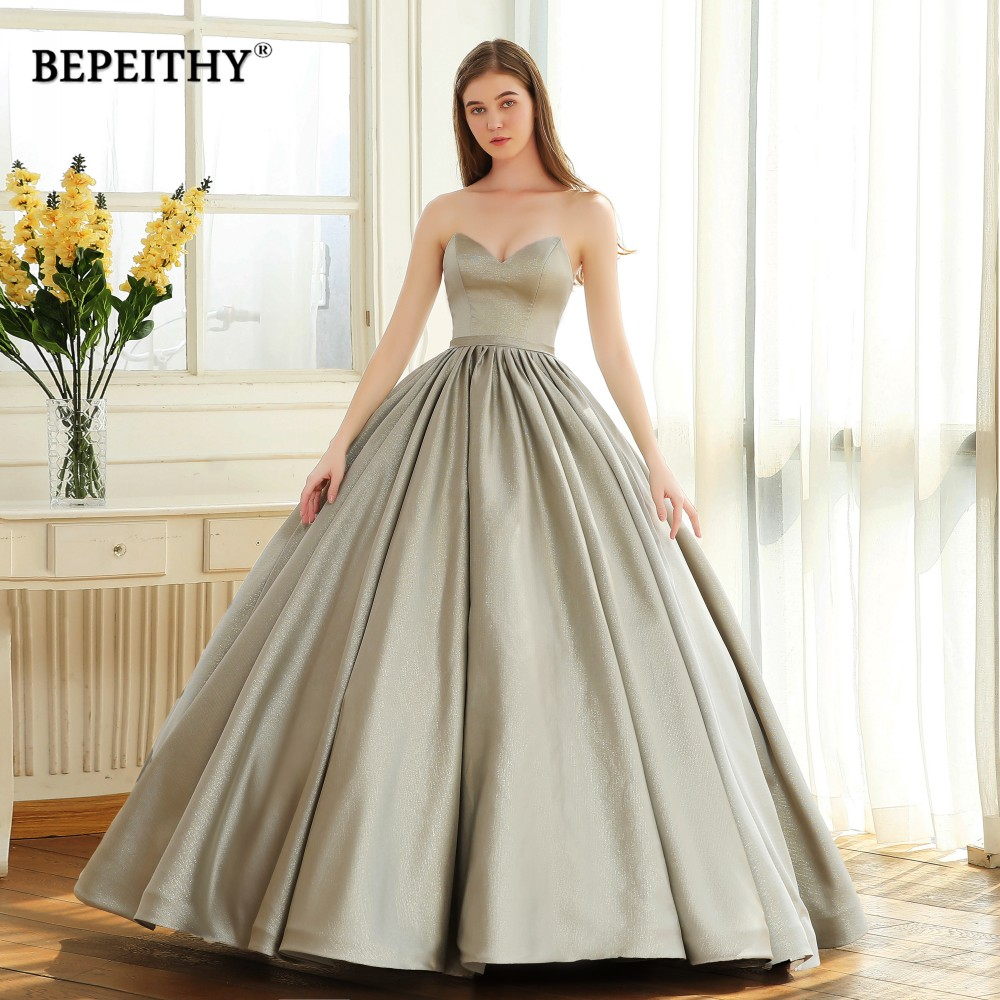 BEPEITHY Vintage Sweetheart Evening Dress Party Elegant 2019 Sparkle Glitter Fabric Ball Gown Prom Dresses Robe De Soiree