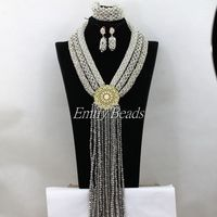 Fashion Silver/Gray/White Big African Wedding Beads Jewelry Set Nigerian Crystal Costume Necklaces Bracelet Earrings Sets AIJ687