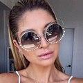Вне Звезды Металлические Каркасы Sexy Cat Eye Солнцезащитные Очки Женщины За Пределами Покрытия Круглый Солнцезащитные Очки Отражающее Зеркало Алмазов Очки UV400