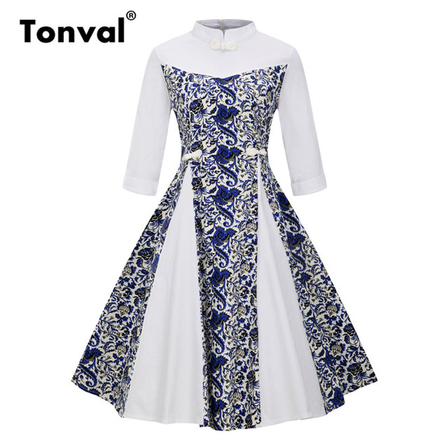 Tonval 4XL Plus Size Stand Collar Vintage Dress Women Elegant Chinese Frog Buttons  Dresses Autumn Winter Floral Dress e8fbaadf320b