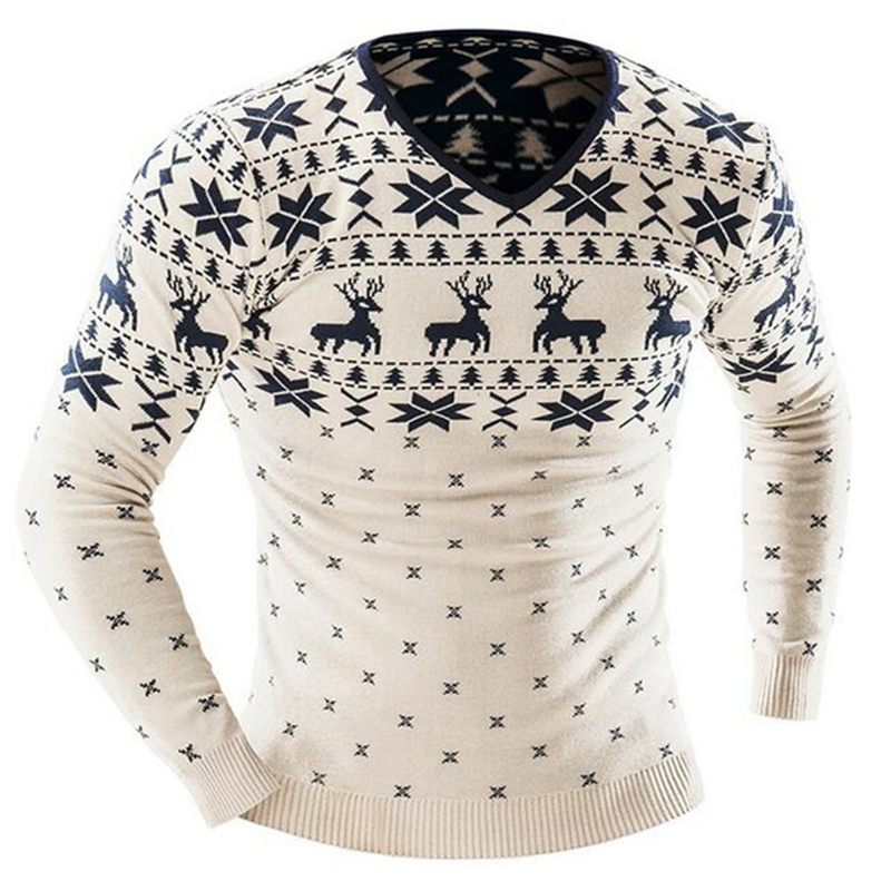Laamei 2018 Men Christmas Winter Pullover Sweater Deer Printed Long Sleeve Sweaters Mens Casual Slim Fit Thick Jumper Pullover ...