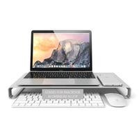 Aluminum Desktop Monitor Notebook Laptop Stand Space Bar Non slip Desk Riser for iMac Macbook Air 13 Pro Retina