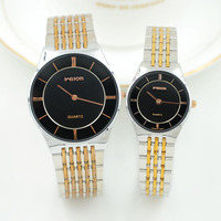 Fashion Brand Men's Ladies Coule Clocks Slim Case Quartz Watches Gold Business Watch men Steel Gold Wtainless steel WristWatches