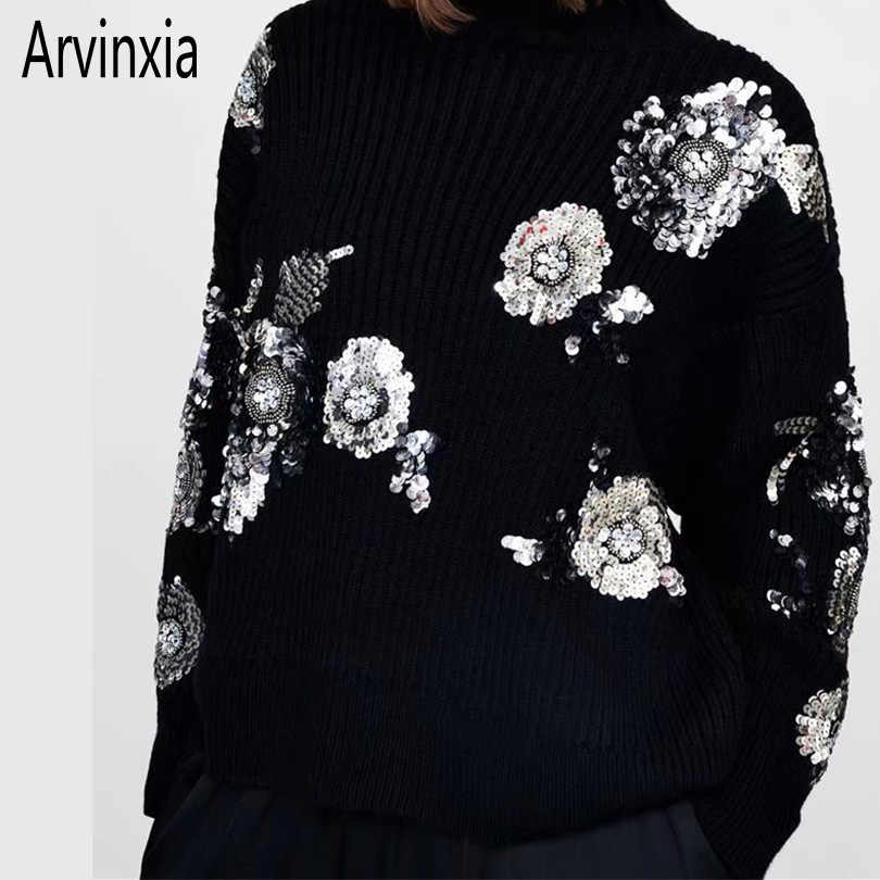 Arvinxia ZA Solid Sequined Floral Decoration Women Sweaters New Long Sleeves Ladies Pullovers Fashion O Neck Loose Knitted Tops