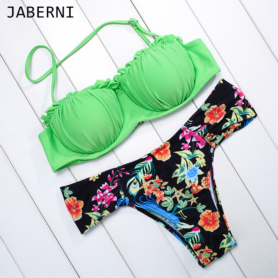 ФОТО JABERNI 2017 Bikini Summer Style Sexy Beach Swimwear Ladies Push Up Swimsuit Women Bathing Brazilian maillot de bain Biquini