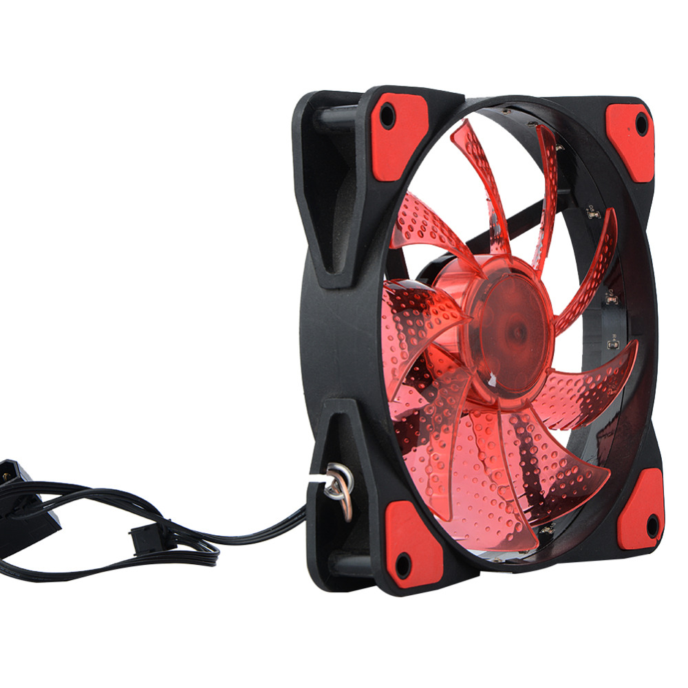 New DC 12V <font><b>4Pin</b></font> 3Pin <font><b>120</b></font>*<font><b>120</b></font>*25mm 15 Lights LED Silent <font><b>Cooler</b></font> Fan PC Computer Chassis Fan Case Heatsink Cooling Fan image