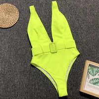 Deep V Neon Green One Piece Swimsuit 2019 Women Leopard Swimwear Female Waistband Monokini High Waist Bathing Suit Swim Bodysuit