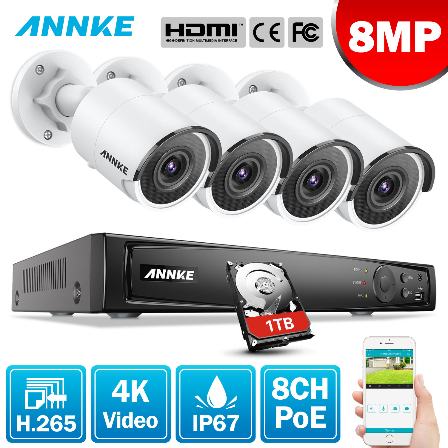 ANNKE 8CH 8MP Ultra HD PoE Network Video Security System 4K H.265 Surveillance NVR 4x8MP HD IP67 POE CCTV Bullet Cameras