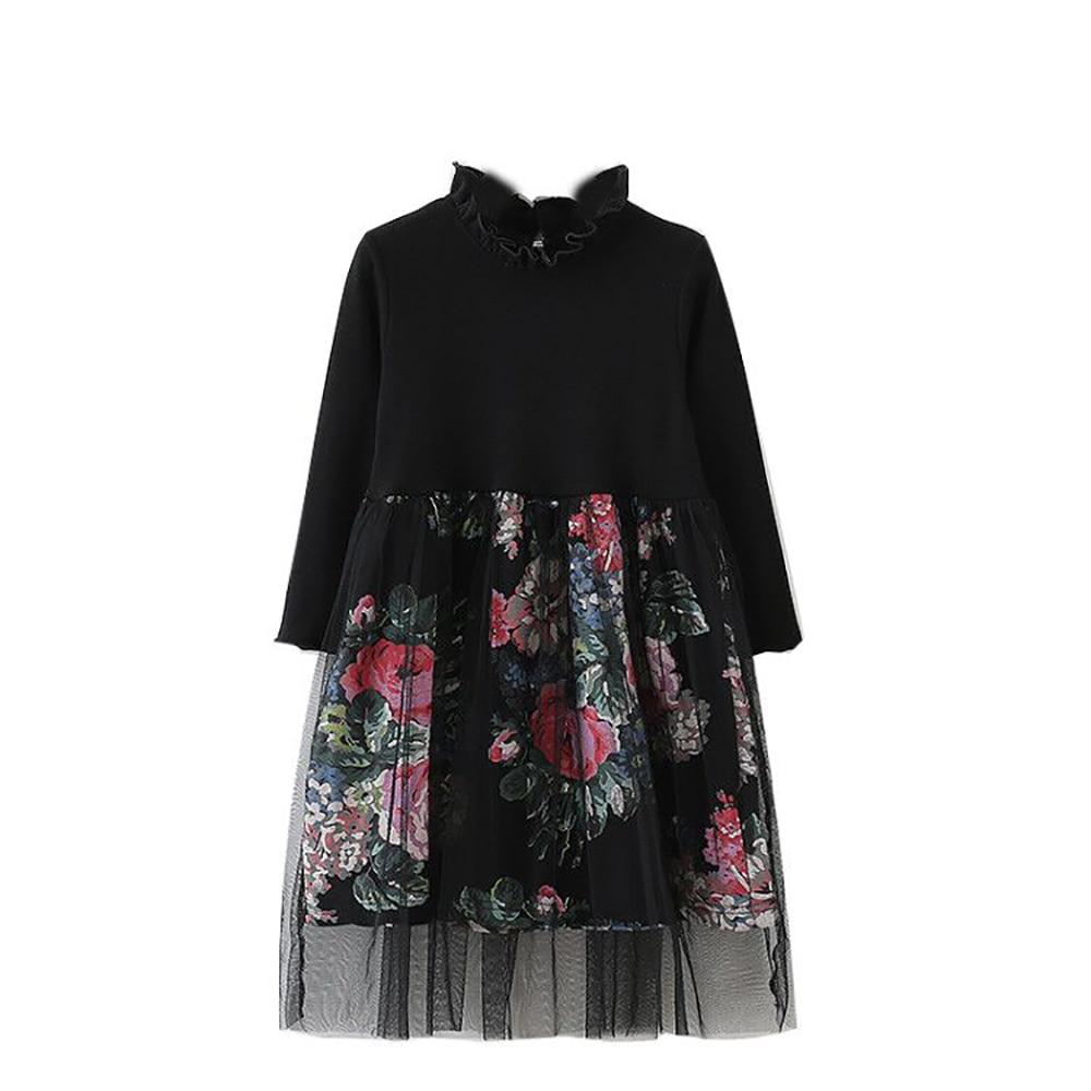 B C2005 New Fashion Spring Girls Casual Dresses Early Summer Cotton Princess Mesh Long Dress 5 13T Teenager Kids Floral Dress