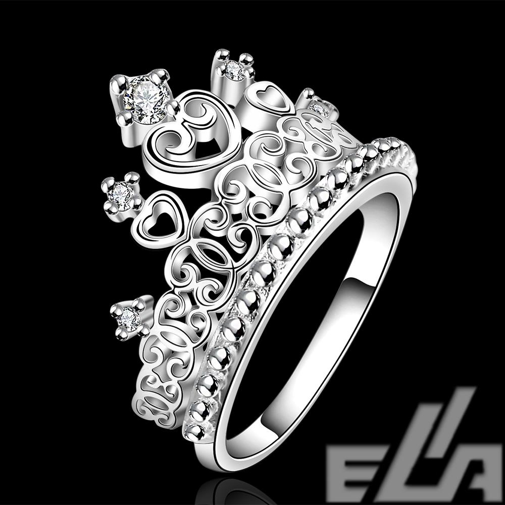 Sale Fashion Silver Plated Bijoux Women Crown Engagement Ring For Women  Synthetic Gemstone Ring(china
