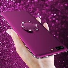 все цены на Luxury Glitter Rhinestone Soft Matte TPU Phone Case For iPhone 7 6 6S Plus XS XR XS Max 8 5 5S SE Cover Finger Ring Holder Coque онлайн