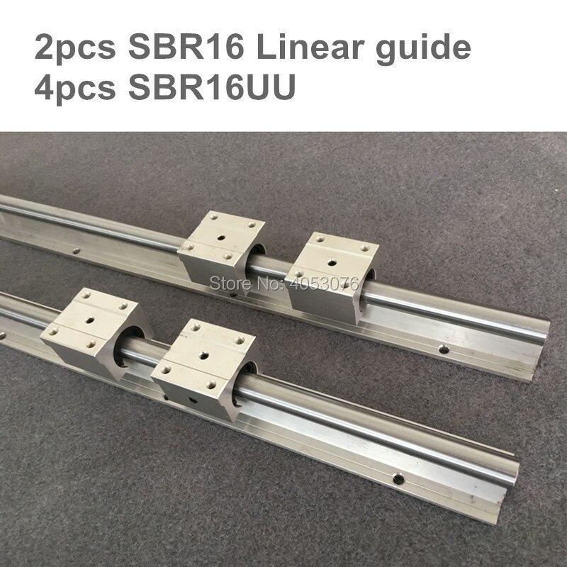 SBR16 2 stücke linearführung SBR16-L600-900mm Linear schiene welle unterstützung und 4 stücke SBR16UU linear lager blöcke für CNC teile