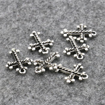 Jewelry Findings 10PCS Lucky Cross Kaddish DIY Loose Finding Accessories Copper Metal Jewelry Design Pendant Necklace 15x20mm image