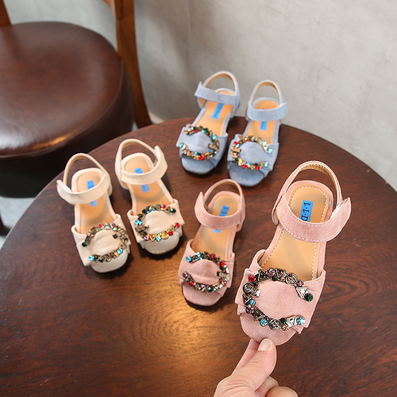 New Children Open toe Sandals Girls Summer Shoes Princess Fashion Flowers Glitter Student Dance Shoes Kids Sandals