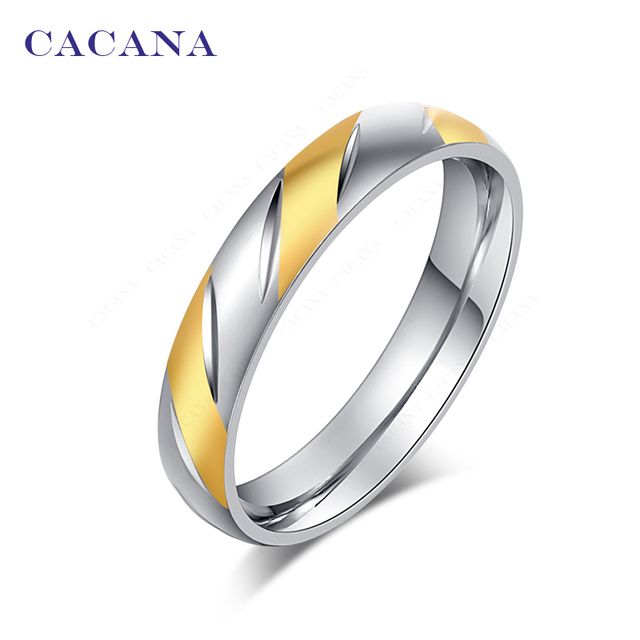 CACANA Titanium Stainless Steel Rings For Women Brilliant Fashion Jewelry Wholes