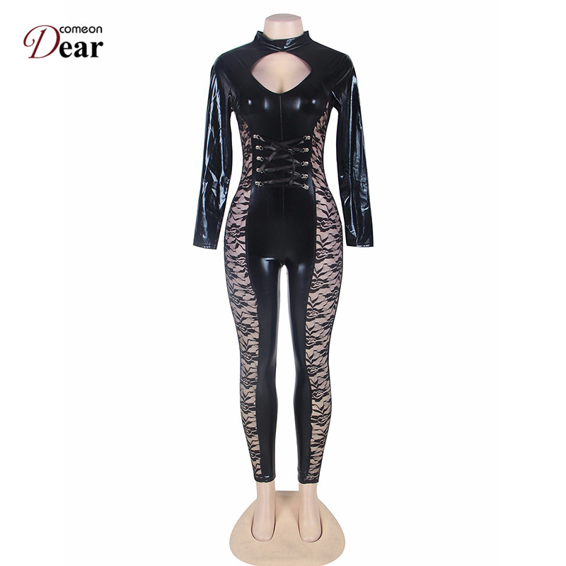 850e979dbbf Comeondear Sexy Bodysuits Women Romper Faux Leather JumpSuit RP80219 Sexy  Lace JumpSuit Hollow Out Long Sleeve