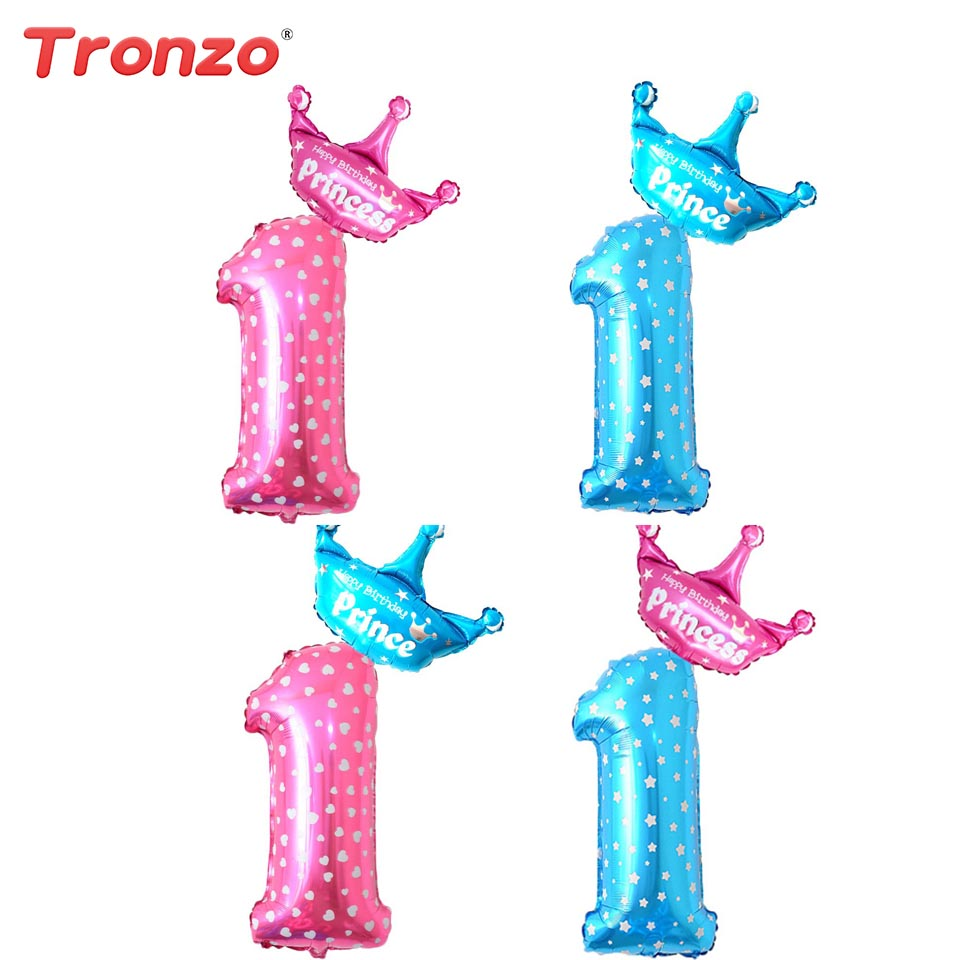 Tronzo Number 1 Foil Balloons Baby Shower Boy Girl Wave Point Crown 1st Birthday Air Balloons Birthday Party Decorations Kids