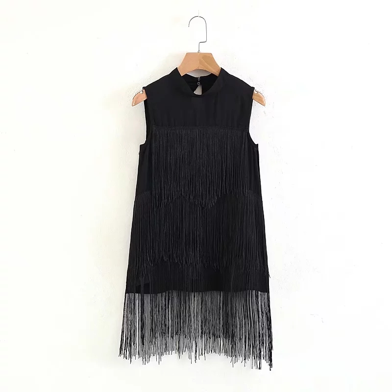 Womens Tops and   Blouse   2018 New Arrival Summer Personality Tassels Patchwork Loose Sleeveless   Blouse     Shirt   Women Black
