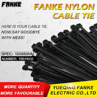 100Pcs/Pack 10*650mm high quality Width9.0mm Black color National Standard Self-locking Plastic Nylon Cable zip Tie,Wire Zip Tie