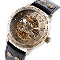 Relógio de Luxo Skeleton Mechancial Relógios Automáticos dos homens do Sexo Masculino Esportes Relógio de Pulso Relógio de Homem de Negócios de Couro Genuíno 2017