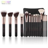 Docolor 15pcs Makeup Brush Set High Quality Soft Synthetic Hair And Nature BristlesProfessional Makeup Artist Brush