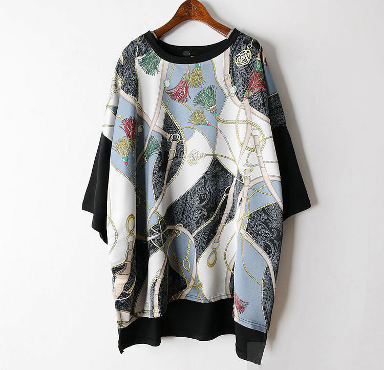 Long Women Europe Fashion 2019 Spring Summer O-neck Short Sleeve T-shirt Female Patchwork Casual Irregular Tee E470 8