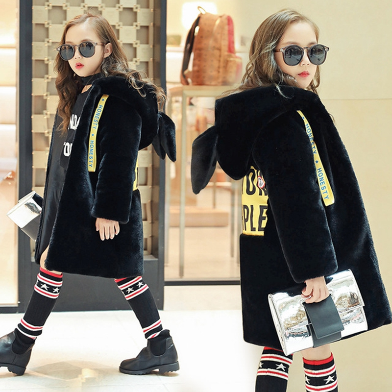 Baby Girls Faux Fur Coat Autumn Winter Jacket For Girls Imitation Fur Kids Warm Hooded Outerwear Plus Velvet Coat TZ371 children jacket print flower thick warm faux fur coat kids pretty winter hooded button long jacket for girls autumn girls coat