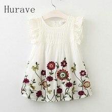 Hurave 2017 Fashion girls dress kids clothing for children fly sleeve summer kid embroidery dress flower