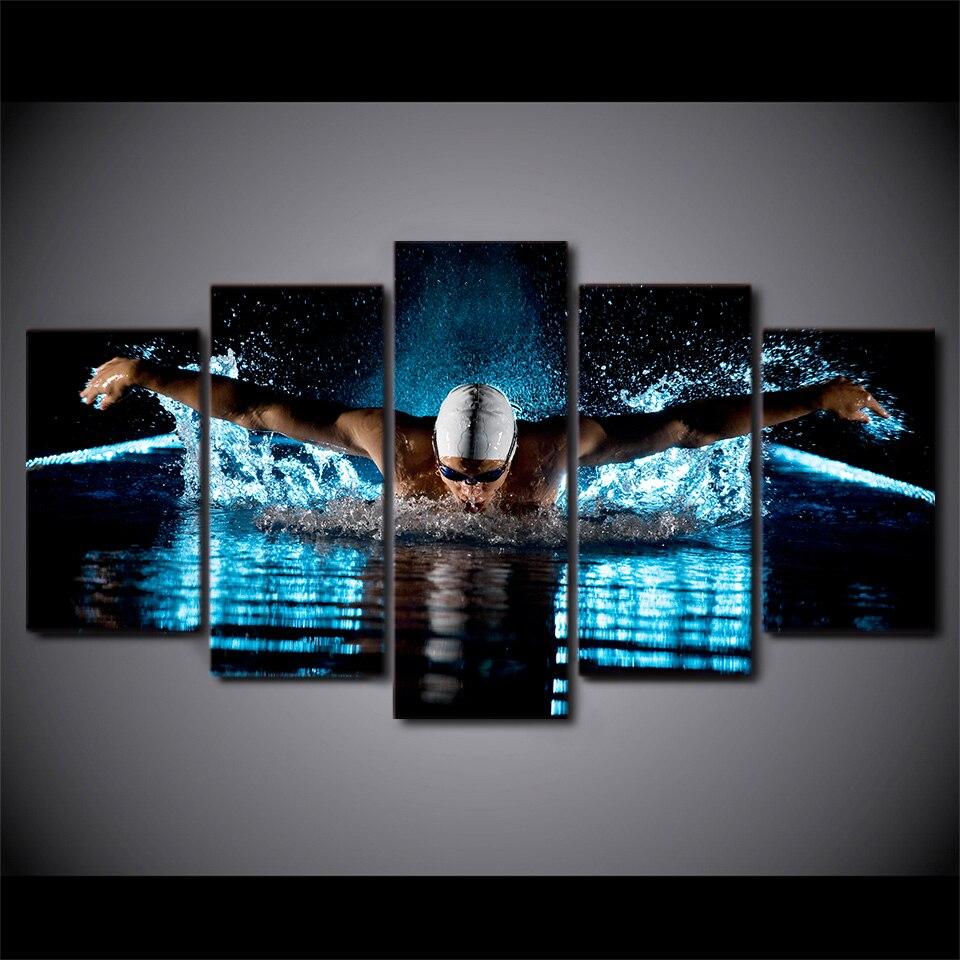 5 Teile/satz Gerahmte HD Gedruckt Schmetterling Schwimmen Sport ...