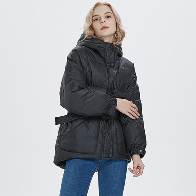 Winter Jacket Women 2019 Ultra Light   Down   Jackets Women Winter Slim Hooded White Duck   Down     Coats   Parkas With Belt Snow Outwear