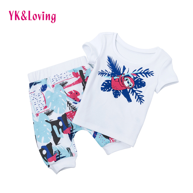 20c967f661f4e Summer infant baby girl boy clothes cotton letters printed t-shirt + skirt  + headband