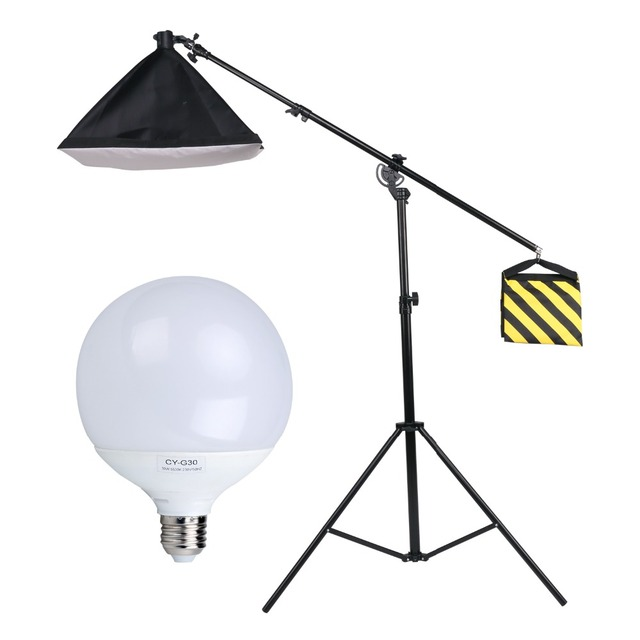 Photography Studio 30w Led Lighting Bulb Stand Metal Boom Arm Kit Soft Box Continuous