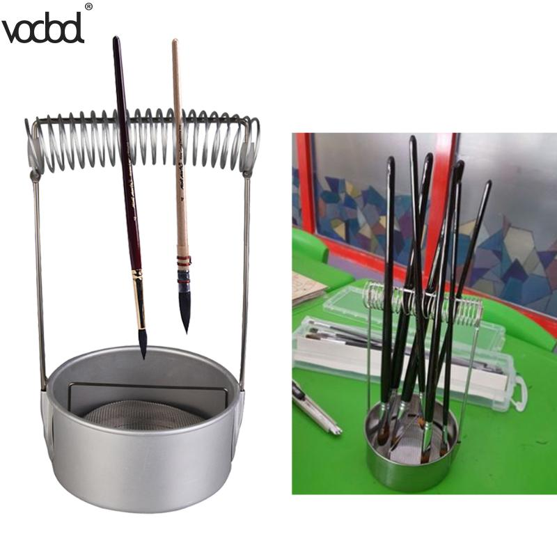 Stainless Steel Paint Brush Washer Cleaner With Screen And Holder Spring Brush Pen Holders School Stationery Painting Supplies