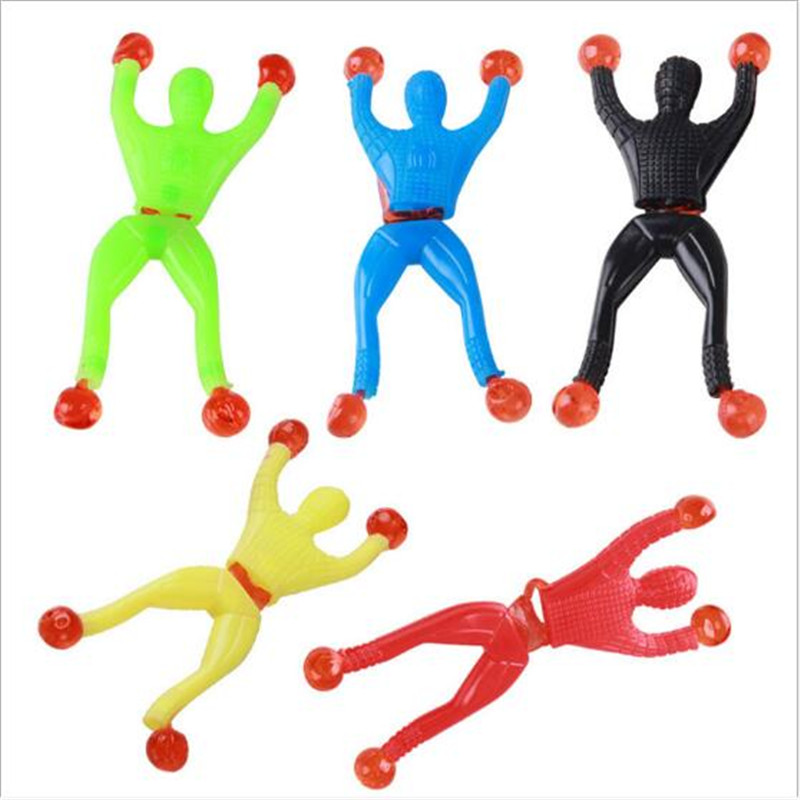 10PCS/Lot Funny Children Sticky Wall Climbing Toys High Elastic Spiderman Doors Walls Toys Gift For Kids