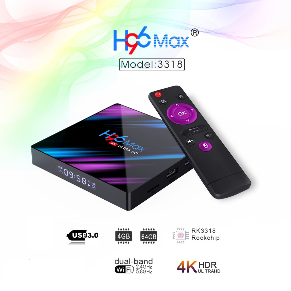 H96 MAX Smart TV Box Android 9.0 4 GB Ram 32 GB/64 GB Rom Rockchip RK3318 4 K USB3.0 H.265 Google Play IP TV décodeur PK tx3 mini