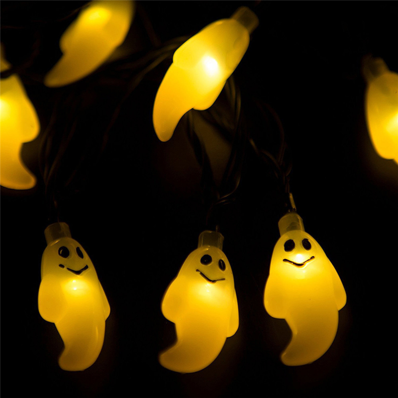 Hot Selling In 2017 2M 10LED Ghost String Lights For Halloween Party Decor Halloween String Lights Yellow Home Garden Decor Lamp 2 5m 10leds ghost led string lights halloween decoration