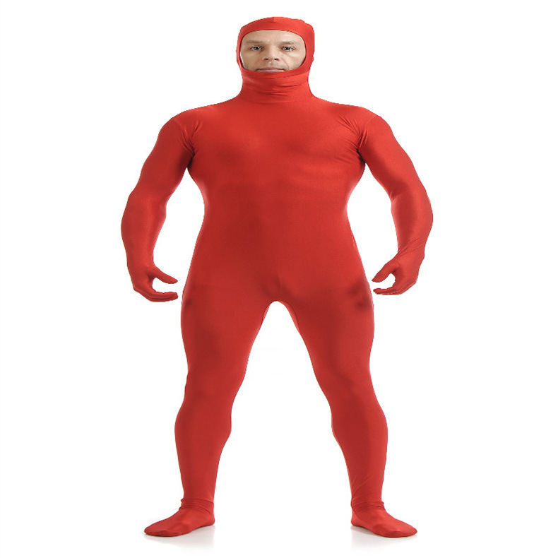 (SOF003) Red Lycra Spandex Full Body Fetish Zentai Skin Tights Unisex Bodysuit Cosplay Costume Unitard Jumpsuit Dancewear