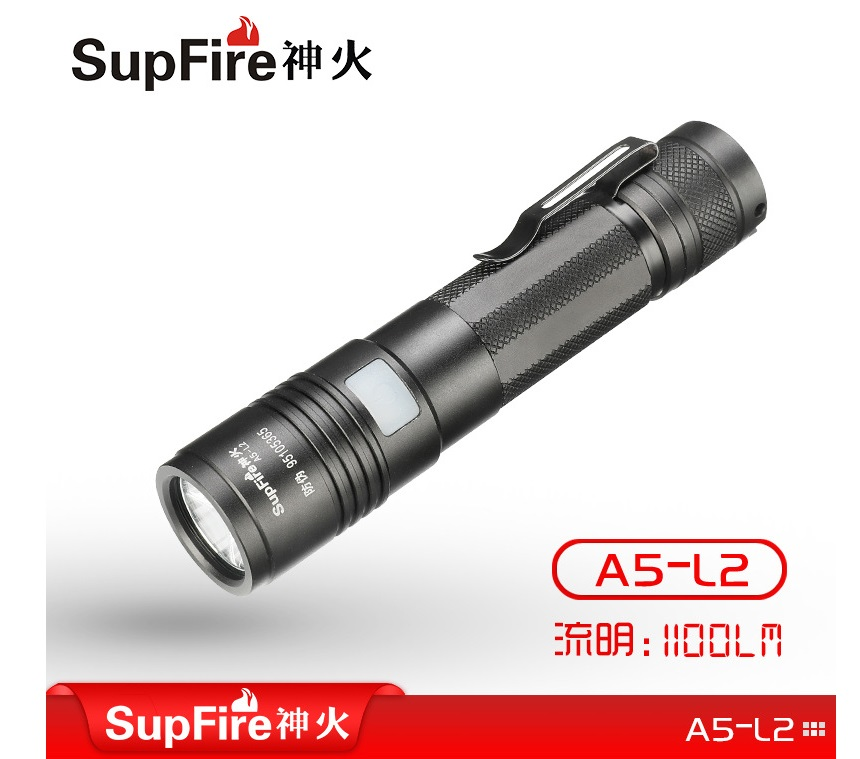 SupFire A5-L2 CREE XML2 Linterna torch 1100 lumens 18650 battery LED rechargeable Mini portable flashlight original supfire a2 cree xm l l2 1200lm mini led flashlight usb zooming torch flashlight with usb rechargeable by 18650 battery
