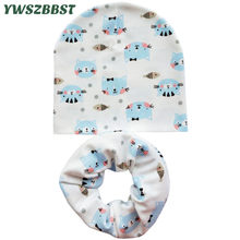 New Baby Hat for Girls Boys Cat Print Spring Autumn Winter Cotton Children Cap Scarf Infant Hat Cap Baby Cap Kids Beanie Hats(China)