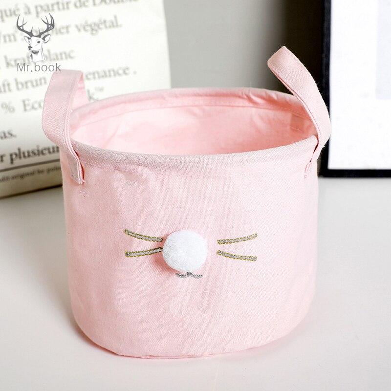 Foldable Kawaii Hair Ball Cat Storage Baskets Office Desktop Cotton Linen Stationery Organizer Clip Letter Holder Desk Set