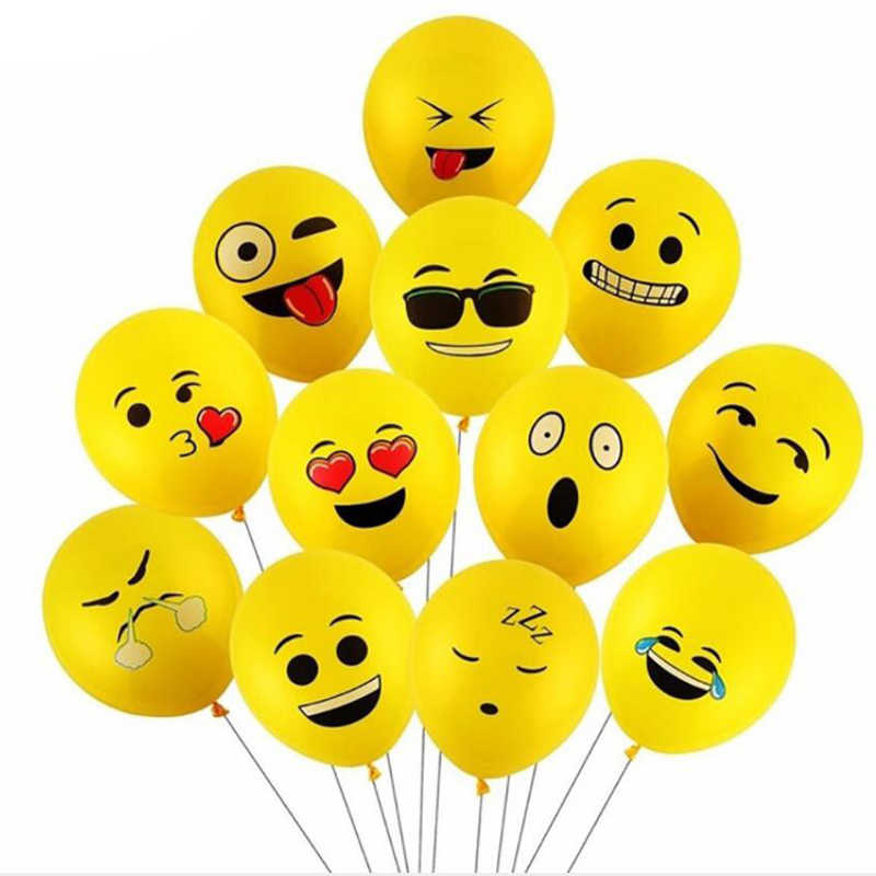 10Pcs/Set Yellow Cute Smiling Face Expression Emoji Latex Balloons Kids Baby Funny Play Toys Party Wedding Decoration Gifts