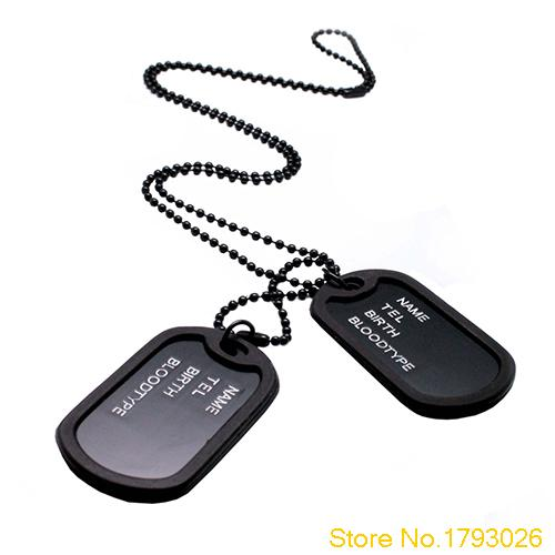 Military Black 2 Dog Tags Chain Pendant Army Style Necklace Mens Jewelry gift for men 4TR2