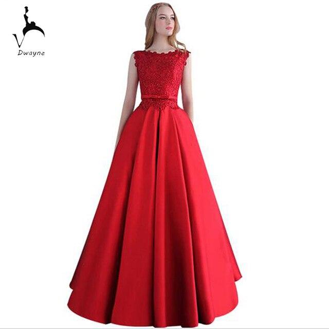 Elegante Damen Rote Satin Abendkleid Mit Spitze Appliques Designer A ...